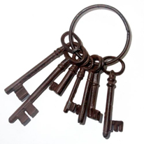 Wrought iron keys (real size)